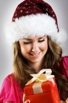 Christmas Portrait Of A Woman Stock Image