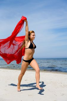 Beautiful Girl With Red Shawl Stock Images