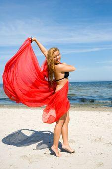 Beautiful Girl With Red Sawl Stock Image