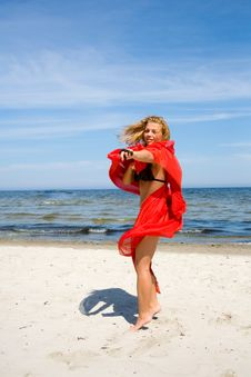 Free Beautiful Girl With Red Shawl Royalty Free Stock Photo - 6204285