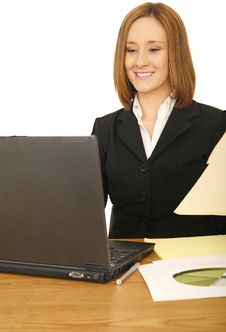 Free Business Woman Working With Laptop Royalty Free Stock Photography - 6204397