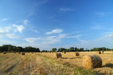 Free Straw Bales On Farmland With Blue Cloudy Sky Stock Images - 6204454