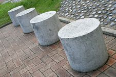 Round Stone Stools Royalty Free Stock Photo