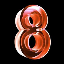3d Number 8 In Red Glass Stock Photography