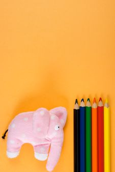 Free Toy And Colored Pencils Royalty Free Stock Photos - 6205718