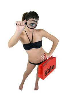 Free Girl In Sexy Bikini Magnifying Her Eye Holding Sho Royalty Free Stock Images - 6206599