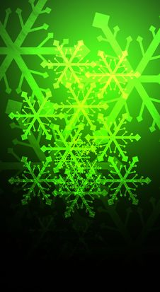 Free Snowflakes On Green Royalty Free Stock Photography - 6206627