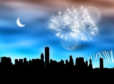 Free City Fireworks Royalty Free Stock Photos - 6207608