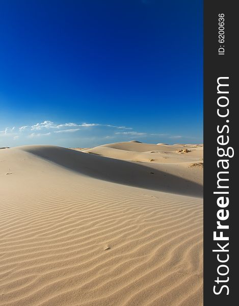 Golden sand dunes with a blue sky