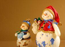 Free Two Snowmen Royalty Free Stock Image - 6211156