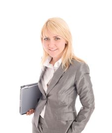 Free Smiling Businesswoman Holding Laptop Royalty Free Stock Photography - 6211787