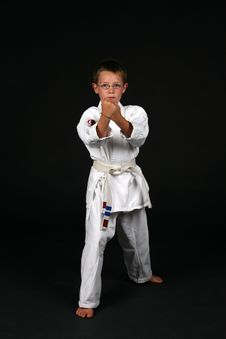 Free Boy In Traditional Karate Stance Royalty Free Stock Images - 6212819