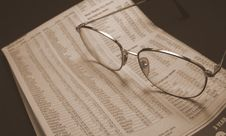 Free Glasses And Paper In Sepia Stock Photography - 6213272