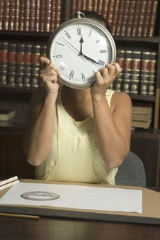 Free Woman With Clock - Vertical Royalty Free Stock Image - 6213346