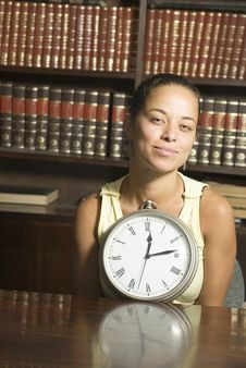 Free Woman With Clock - Vertical Royalty Free Stock Photo - 6213485
