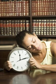 Free Student Sleeping With Clock - Vertical Stock Photos - 6213583