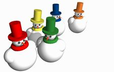 Free Abstract 3D Snowmen Royalty Free Stock Images - 6214059