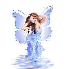 Free Blue Butterfly-girl Stock Image - 6215051