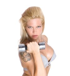 Fitness Instructor With Dumbbell Stock Images