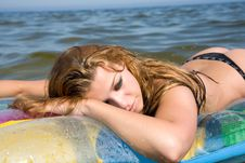 Free Beautiful Girl Swiming On Air-mattress Stock Images - 6215664