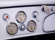 Dials On Car Dashboard Royalty Free Stock Photo