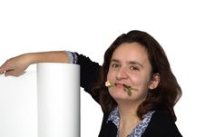 Free Happy Girl Holding A Rose In Her Mouth Stock Image - 6217951