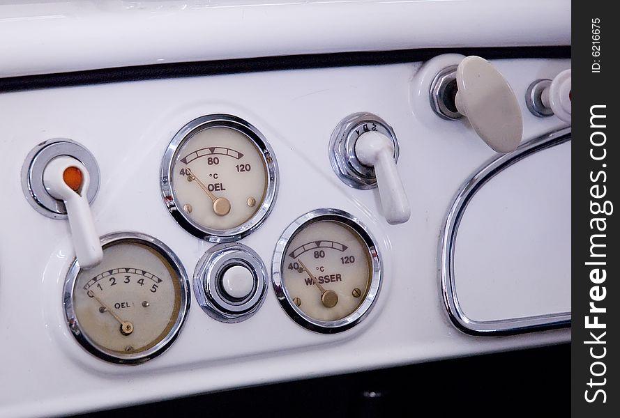 Dials on car dashboard