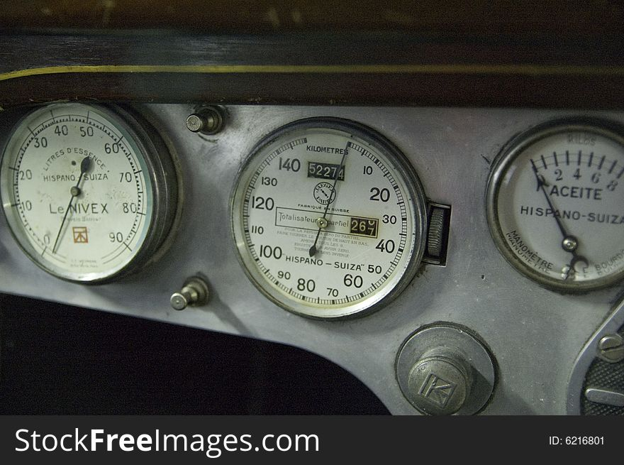Dials on car dashboard