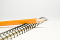 Free Opened Notebook And Pencil On Over White Stock Photos - 62135753