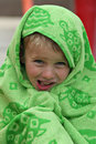 Free Boy Wrapped In Green Swimming Towel Stock Image - 6222041