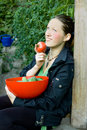 Free Young Woman With Tomato Stock Image - 6228751