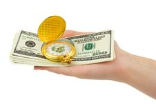 Free Watch And Money In Hand Stock Photography - 6220232