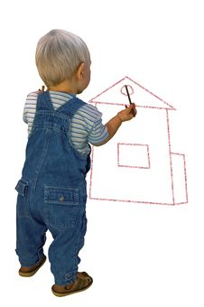 Boy Draws The House Stock Photo