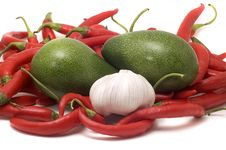 Free Red Hot Chili Pepper ,avocado,garlic Royalty Free Stock Image - 6220646