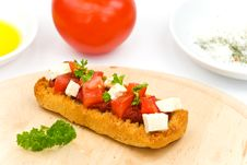Bruschetta With Tomato,cheese And Other Stuffing Stock Image