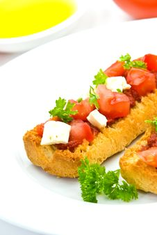 Bruschetta With Tomato,cheese And Other Stuffing Royalty Free Stock Photo