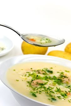 Free Potato Cream Soup With Chopped Meat Balls Stock Photos - 6221713