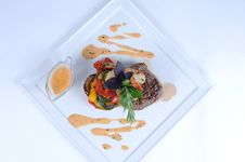 Plate Of Fine Dining Meal - Steak And Shrimps [3] Stock Photography