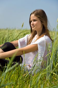 Free Sadness Girl Sitting On Grass Stock Photo - 6224680