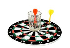 Glass Of Water And Darts Stock Photography