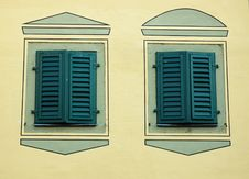 Free Two Turquoise Windows With Closed Shutters Stock Photography - 6226072