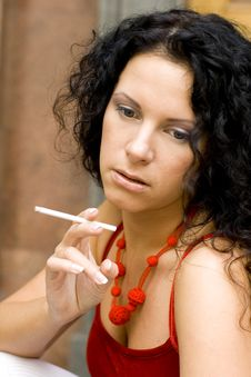 Free Brunette With Cigarette Royalty Free Stock Images - 6226569