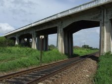 Free A Bridge Over A Railroad Royalty Free Stock Photography - 6227287