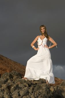 Free Beautiful Model On The Lava Rocks Of A Vulcan Royalty Free Stock Image - 6227996
