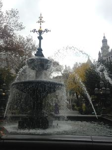 A Fountain In Front Of New York City Hall Building. Stock Photos