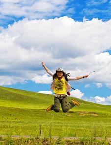 Free Pretty Young Woman Is Jumping Stock Photos - 6231443