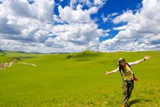 Free Happy Girl On Meadow,sky Stock Photography - 6231462