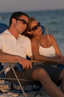 Free Couple In Beach Chairs Royalty Free Stock Photo - 6231635