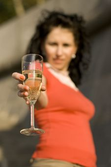 Free Woman With Champagne Glass Stock Photos - 6232703