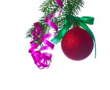 Red Ball On Fir Branch Stock Images